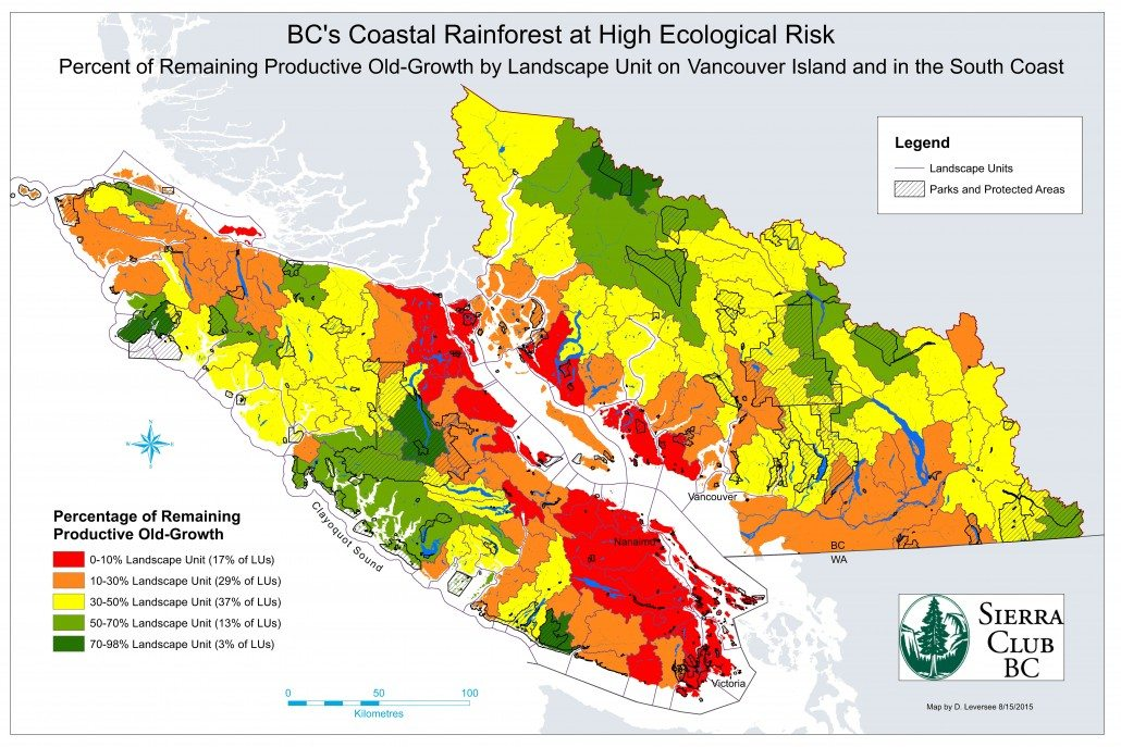 "A 2015 Sierra Club BC's mapping analysis shows that only five of 155 landscape units on Vancouver Island and B.C.'s south coast are still covered primarily by ""big-tree"" old-growth. The Walbran, the most intact old-growth rainforest on Southern Vancouver Island, is the only one of these that remains largely unprotected."