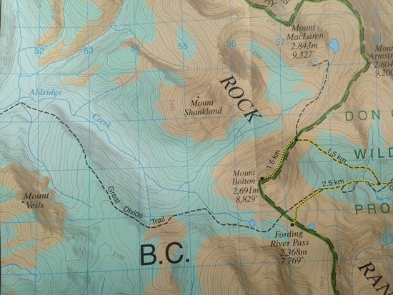 A map of the Aldridge Creek drainage basin, and the Great Divide Trail. Photo: Peter Wood