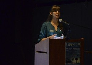 Larissa Stendie addresses a crowd in Tofino