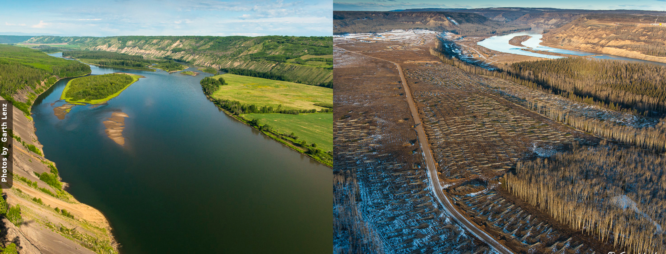 Site C before and after clearcutting. Photo by Garth Lenz