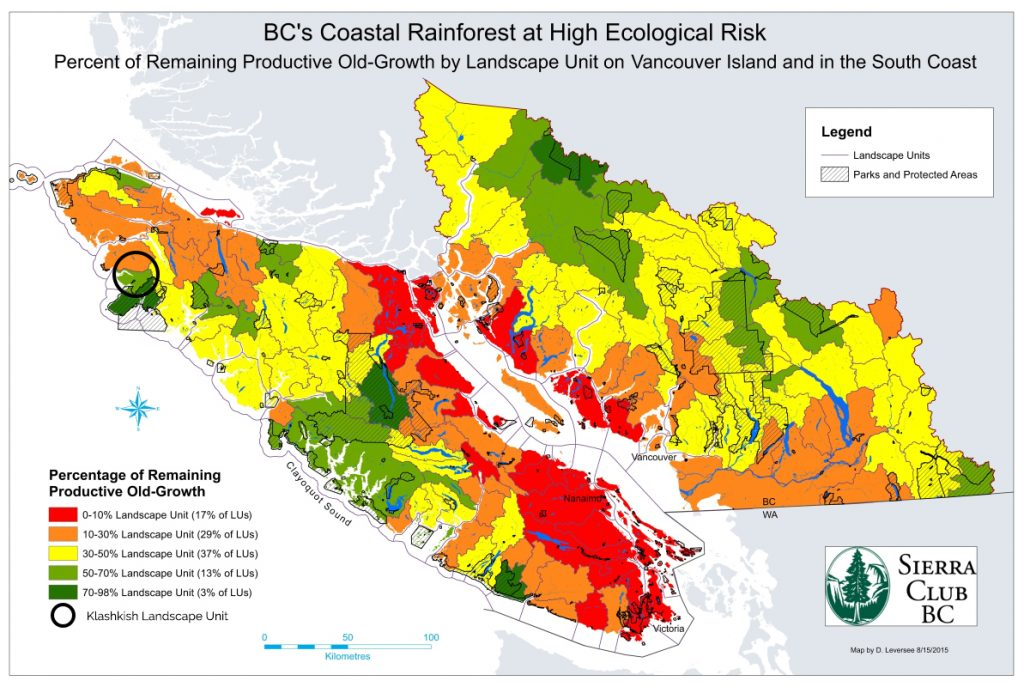 A recent Sierra Club mapping analysis showed East Creek on the northern island and the Walbranon the southern island among the most critical remaining intact areas and ecological stepstones between the Great Bear Rainforest, Clayoquot Sound and Pacific Rim National Park.