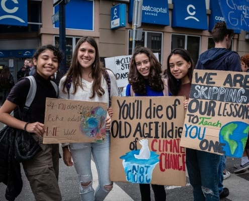 Young women call for bold climate action at the Global Climate Strike in Victoria, BC