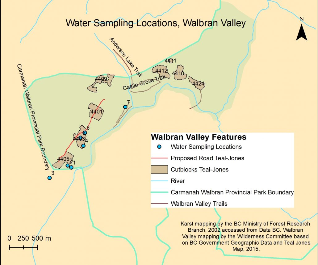 Map of the Water Sampling Locations, Charly Caproff