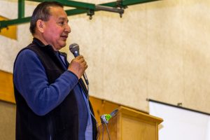 Grand Chief Stewart Phillip at the Salish Sea Gathering. Photo by Sean Saulnier