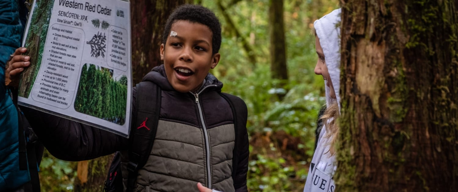 A student learns about old-growth forests during a Sierra Club BC environmental education workshop.