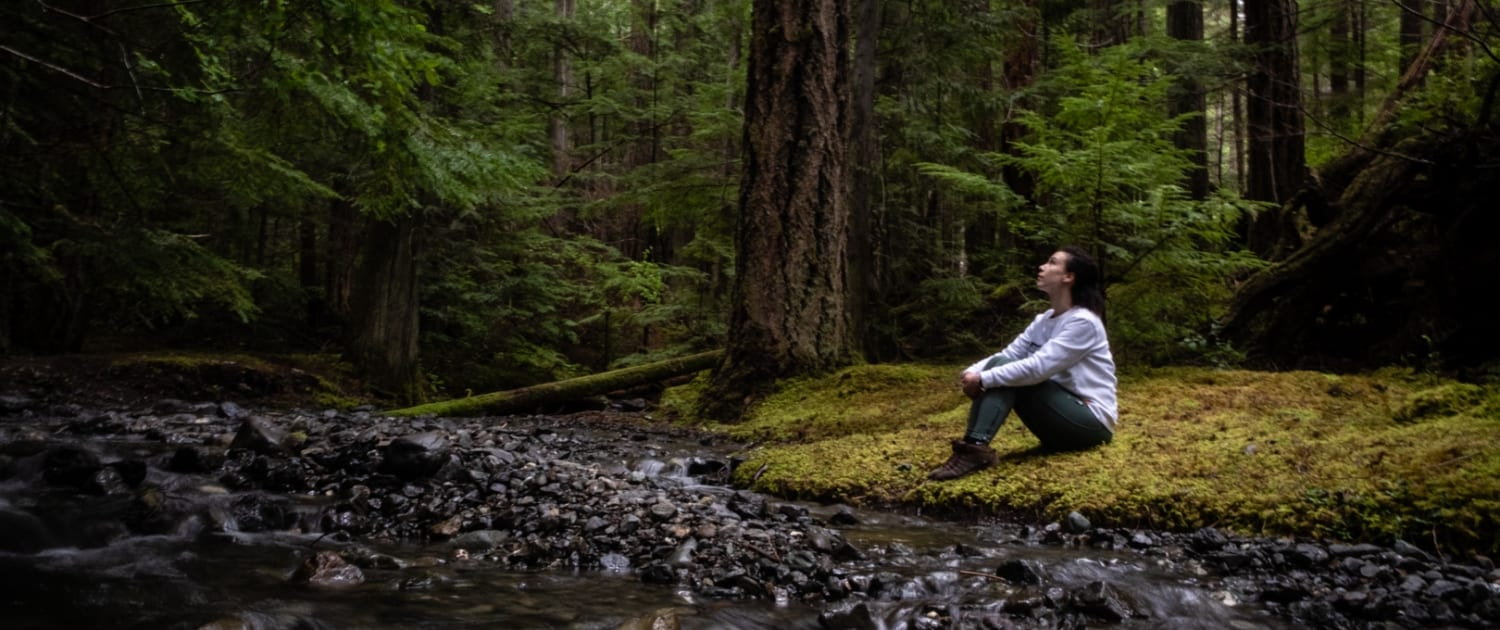 A woman sits and reflects in the forest by a flowing stream.