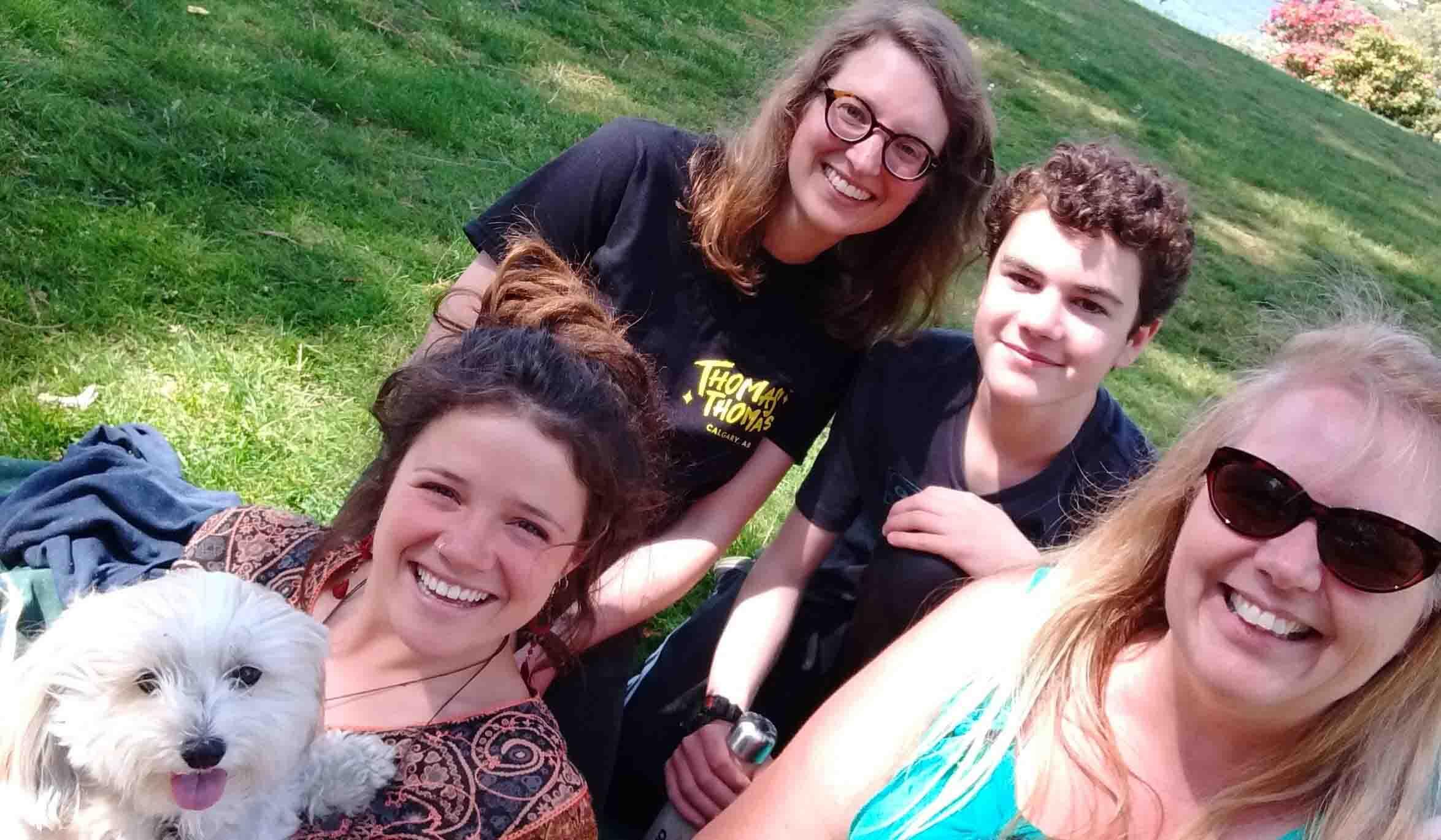 Sue Elrington with (L-R): Sadie the dog, Antonia Paquin, Hannah Gelderman and Finn Kreischer