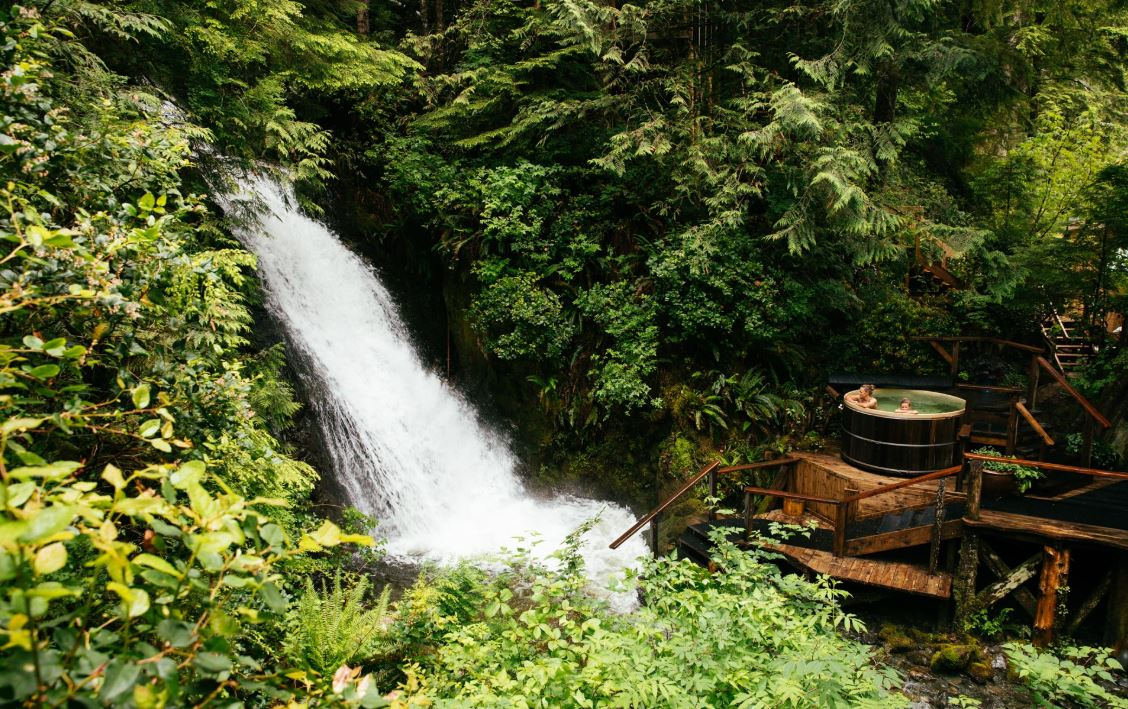 nimmo bay resort, nimmo bay, kayak, wilderness lodge, wilderness resort,, hot tub, waterfall, british columbia