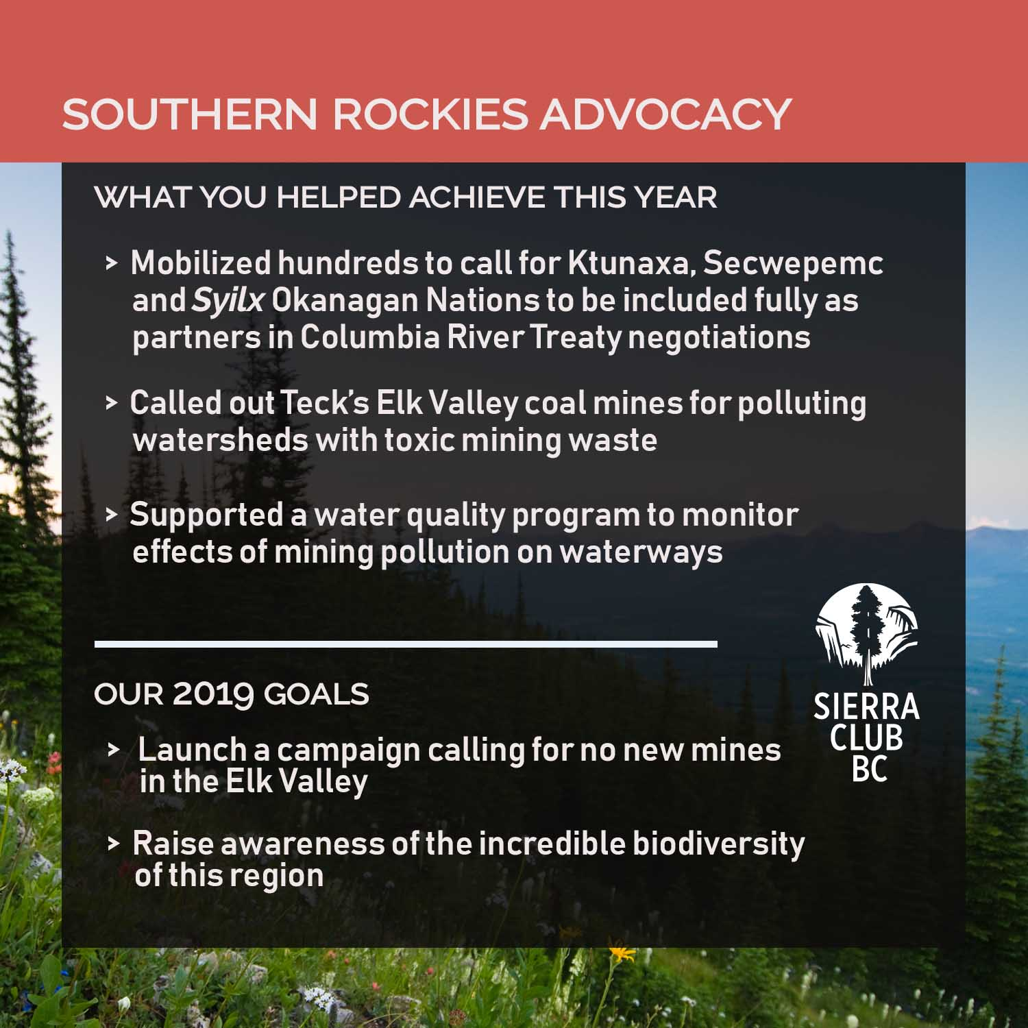 Thank you for making an impact in 2018! - Sierra Club BC
