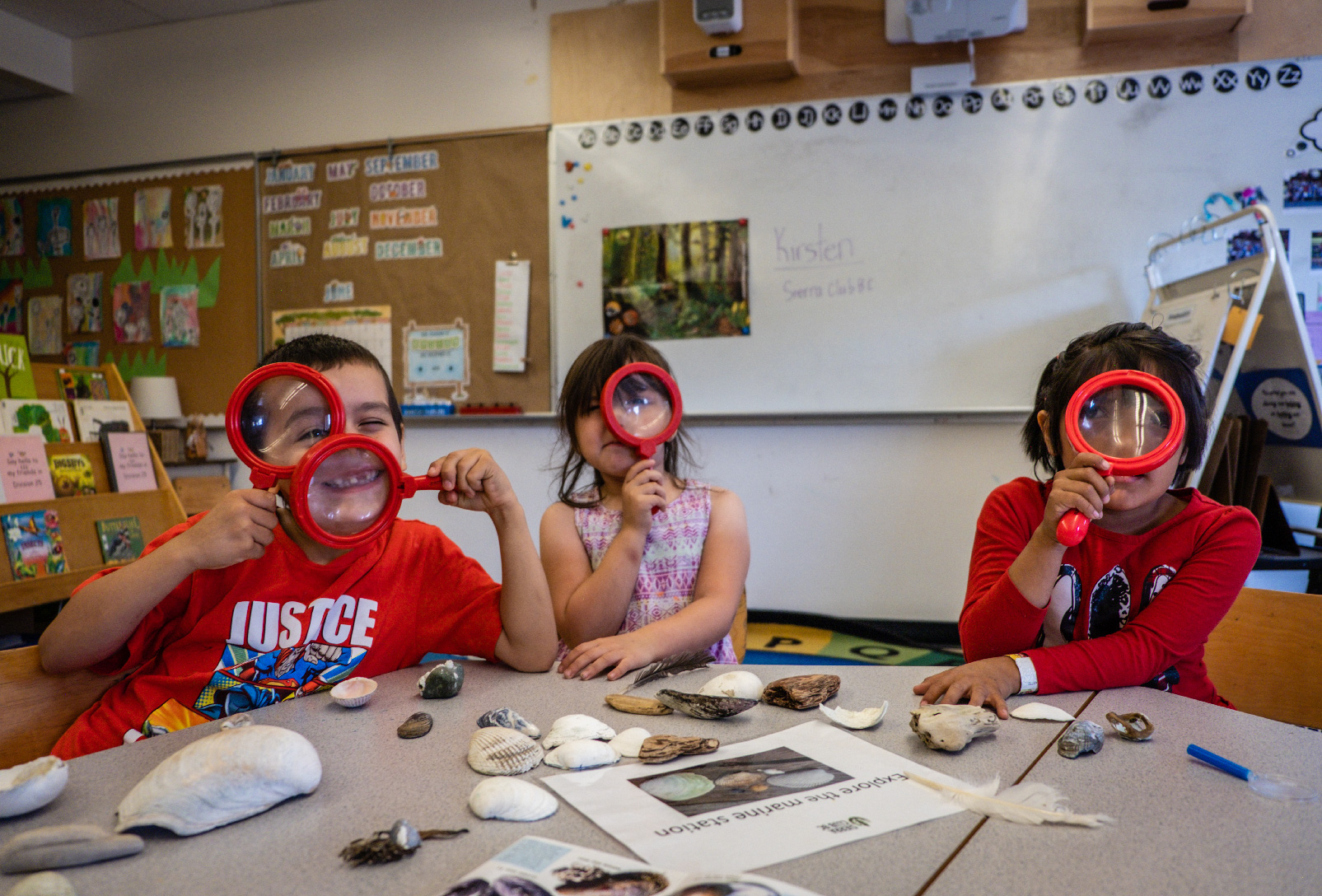 school groups, nature education, hands on learning, elementary school, magnifying glasses, kids, school, learning, sierra club bc