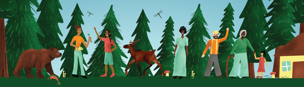 Forest week of action artwork showing communities living in balance with forests