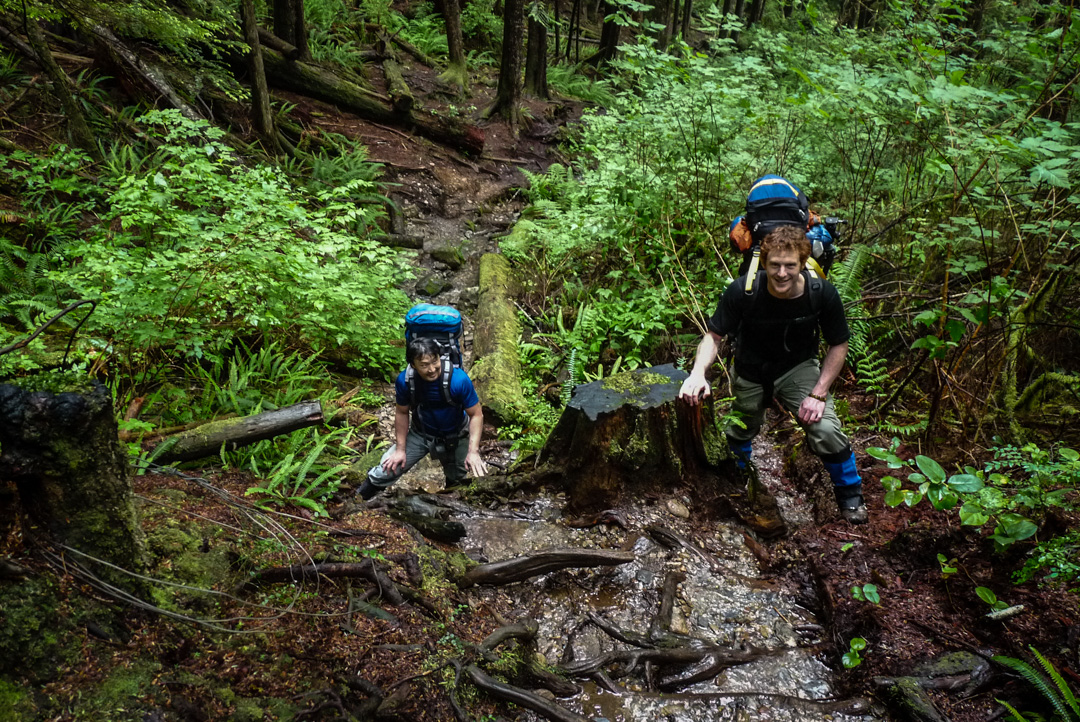 Hikers take a breather along the West Coast Trail on Vancouver Island.