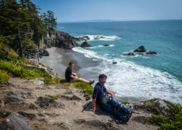 Hikers taking a break along the West Coast Trail on Vancouver Island.