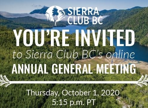 You're invited to Sierra Club BC's Annual General Meeting!