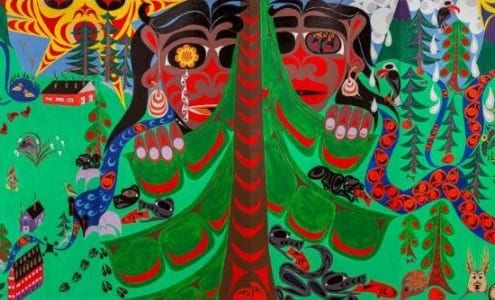The mural Through Watchers' Eyes by kQwa'st'not~Charlene George (tSouke).